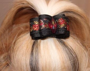 "Shih Tzu Dog hair bow 7/8"" shih tzu yorkie maltese red purple gold  hair bow dog show bow puppy pet hair bows"