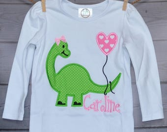 Personalized Valentine Dinosaur Hearts Applique Shirt or Onesie Girl or Boy