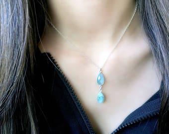 Aqua Necklace Aqua Pendant Necklace Blue Quartz Necklace Aqua Jewelry lace Aqua Quartz 925 sterling silver beach jewelry beach wedding gifts
