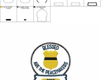 Blessed are the Peacemakers Police Badge - Sheriff - Christmas - Snow Globe - Ornament -  In The Hoop - DIGITAL Embroidery DESIGN