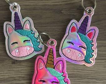 Unicorn Face - Sleeping Unicorn - EYELET Version - Snap/Rivet Key Fob - DIGITAL Embroidery Design