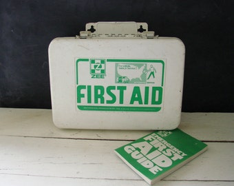 Vintage Metal First Aid Kit Zee Medical Products Co with Emergency First Aid Guide Booklet and Supplies Industrial Storage