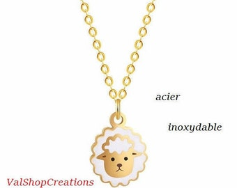 Head of sheep gold stainless steel necklace