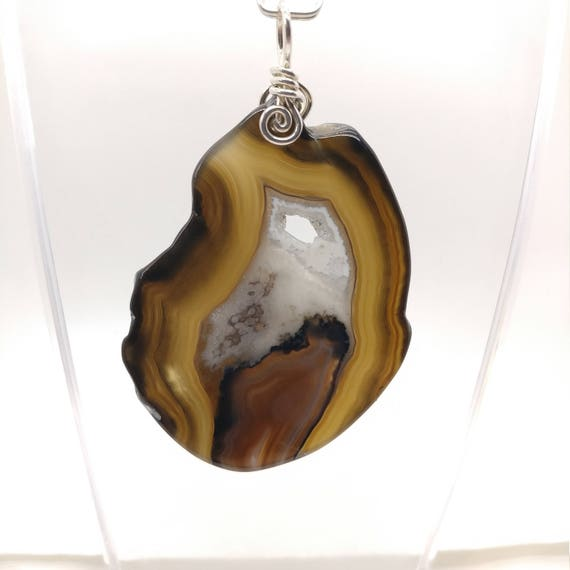 Rustic Stone Pendant | Black Agate Pendant Necklace | Raw Cut Stone Pendant | Sterling Silver | Semiprecious Gemstone | Agate Slice | Boho