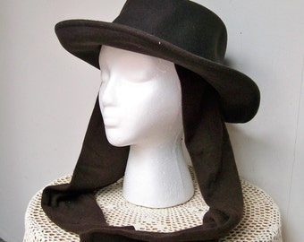 August 100% WOOL WOMANS HAT with Attached Scarf Brown One Size Adj Band