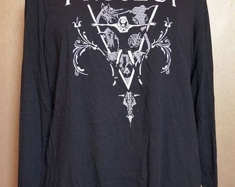 """Size 14/16 """"Protect"""" Long Sleeved Tee, White Ink on Black"""