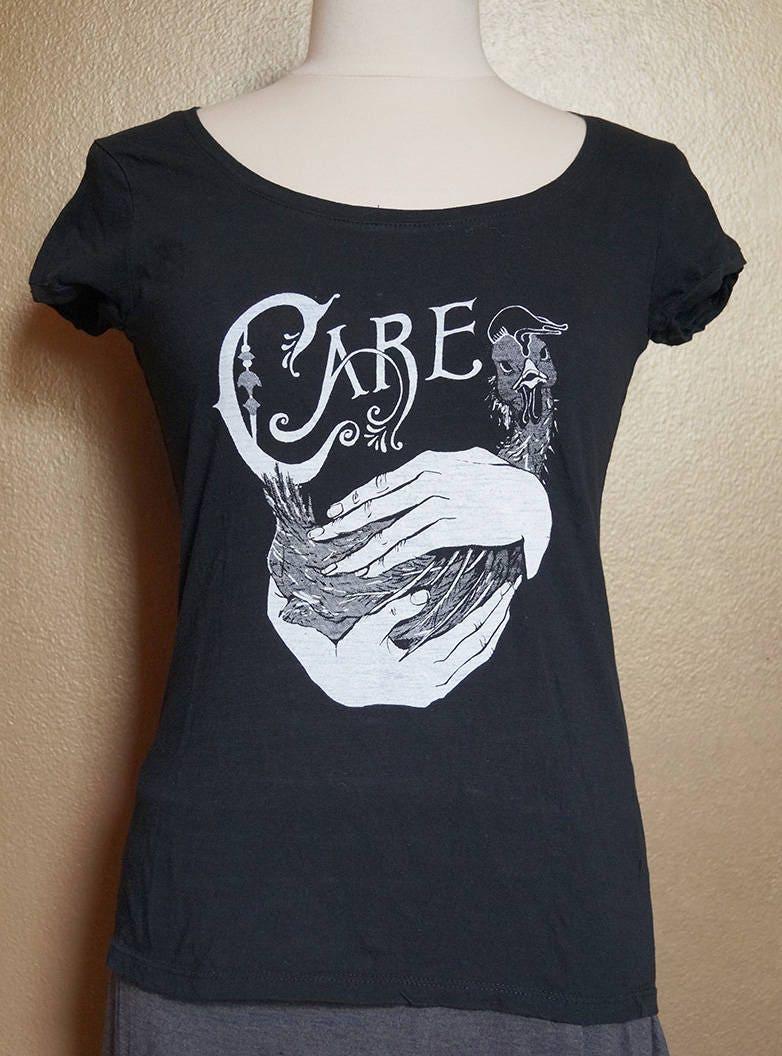 "Med ""Care"" Tee, White Ink on Black"