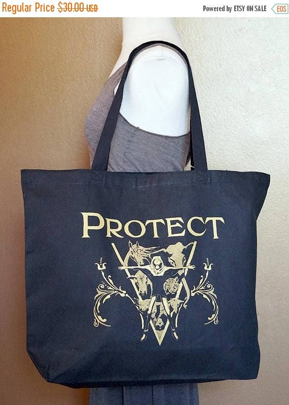 """ON SALE Tote Bag """"Protect"""" Gold Ink on Black Cotton"""