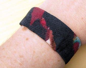 Multicolored Plastic Bottle Bracelet, Multicolored Bracelet, Recycled, Repurposed, Black Calico Bracelet, Recycled Jewelry