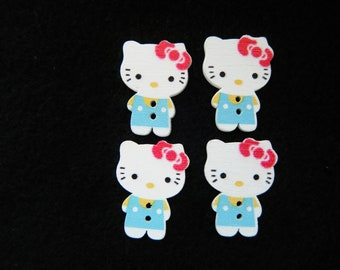 "4 Hello Kitty Buttons, 1"" Tall Wooden Cat Craft Sewing Button, Flatback Wood Kawaii Kitty HairBow Center"