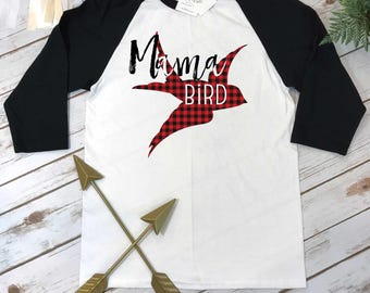 MAMA BIRD Shirt, Mommy and Me shirts, Mommy and Me Outfits, Buffalo Plaid Shirt, Mom Shirts, Family Outfits,Baby Shower Gift for Mom, Raglan