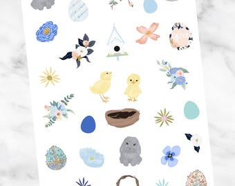 Pastel EASTER DECO Clipart Stickers for your Planner
