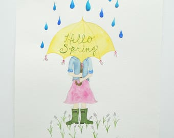 Orignial Watercolor Illustration // Hello Spring