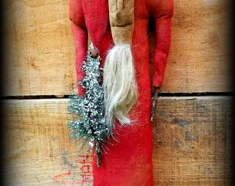 MADE TO ORDER Primitive Folk Art Olde Kinderhook Santa-Rag Stuffed-Skinny-St. Nick-Winter, Christmas, Sisal Tree, Extreme Primitive, Vintage