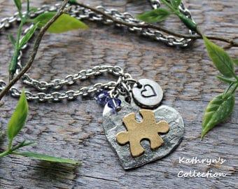 Puzzle Piece Necklace, Autism Awareness Jewelry, Puzzle Jewelry, Autism Necklace