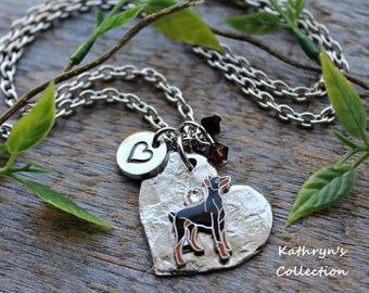 Doberman Pinscher Necklace, Doberman Jewelry, Doberman Mom, Heart Dog Jewelry, Doberman Gift, Read all listing details