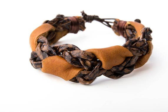 Brown  Leather Bracelet from Recycled Leather