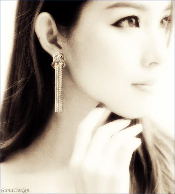 Long vintage metal chain dangle earrings with Rhinestone beads