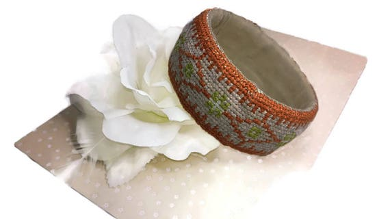 Ethnic style embroidered bracelet bangle  in cross stitch needlework technique