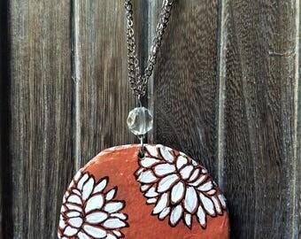 Orange White Flower Statement Necklace