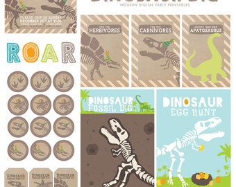 Modern Dinosaur Birthday Party Printable Kit and Custom Invitation
