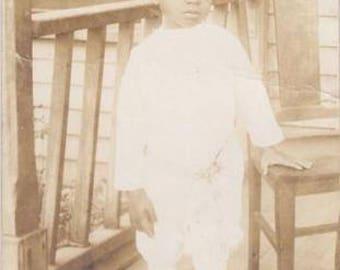 Vintage Photograph -Black Americana RPPC- Cute little boy