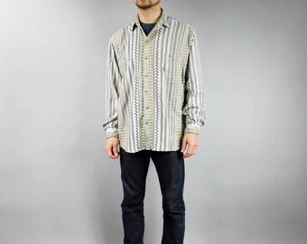 PLUS SIZE Ivory 80s Lumberjack Striped Shirt . Brown Aztec Print Shirt . Vintage Long Sleeve Embroidery Boyfriend Shirt . Folk Blazer XL