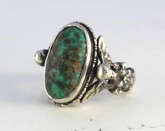 Antique Turquoise Ring, Baroque Angel Italian Renaissance Revival Gothic Bohemian Statement Jewelry, 800 Silver