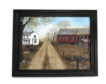 Farmhouse and Barn, Billy Jacobs, Warm Spring Day, Country Decor, Art Print, Country Primitive Art, 28X22, Wood Frame, Handmade in the USA