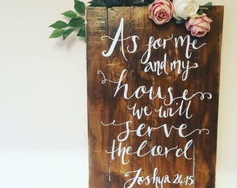 Wooden wall hanging 'As for me and my house, we will serve the lord' Bible Verse