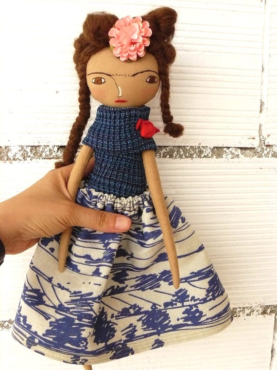 Frida Kahlo rag doll. 13 inches. Frida nº 14 2017 series.