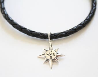 Leather Bracelet with Sterling Silver North Star Charm, North Star Bracelet, North Star Charm Bracelet, North Star Pendant Bracelet, Star