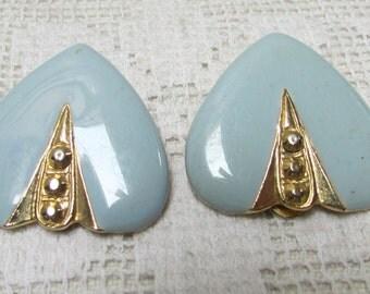 Vintage  Something Blue heart shaped enamel clip on earrings wedding bridal