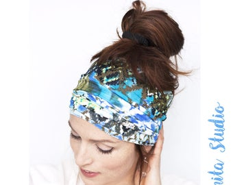 Teal Headband Aztec Print Workout Headband Running Headband Fitness Headband Boho Headband Tube Headband Wide Headband Beach Aqua