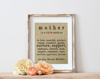 Definition of a Mom, Personalized Christmas Gifts for Wife, Gift Ideas for Moms, Definition of a Mother, Gift for Mom, Burlap Art Print