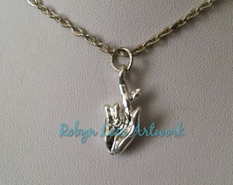 Small 3D Silver Fingers Crossed Hand Symbol Sign Gesture Charm Necklace on Silver Crossed Chain or Black Faux Suede Cord