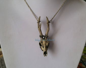 Large 3D Indigo Grey Antiqued Resin Deer Stag Skull & Antlers Necklace on Silver, Bronze or Gunmetal Chain. Gothic, Anatomical, Costume