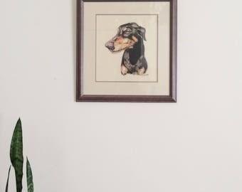 Original Art Dog Painting in Frame // Vintage Dog Art Picture // Vintage Oil Pastel Art