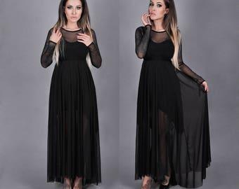 Black goth dress with train