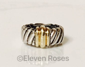 David Yurman Classic Cable Two Tone Cigar Band Ring 925 Sterling Silver & 585 14k Gold