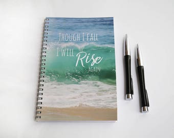 Ocean Wave Notebook, Blank Paper Journal, Wire Bound Journal, Spiral Bound, Writing Journal, Though I fall I will rise again, Motivational