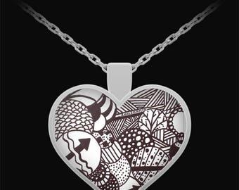 "Zentangle Necklace - B/W Tangle Art Heart Necklace hand drawn by Zenjoanie ""Illumination"""