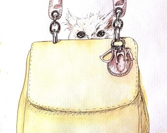 Dior Handbag Kitty Fashion Editorial Illustration Original Wall Art