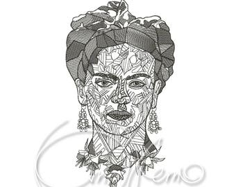 MACHINE EMBROIDERY DESIGN - Frida embroidery, Mexican embroidery