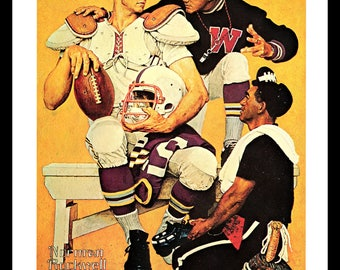 Football Art Print, The Recruit, Classic 1966 Norman Rockwell Illustration, Sports Art Print, Vintage Book Plate Illustration