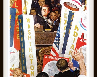 John F. Kennedy Art Print, 8 x 10, JFK, A Time For Greatness, Classic 1964 Norman Rockwell Art, Vintage Illustration, Wall Art, Home Decor