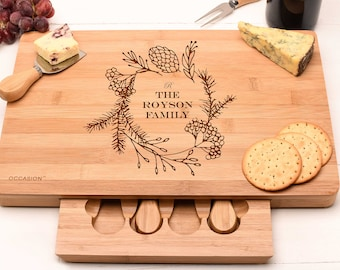 Personalised Large cheese board set, Wedding Gift for the Couple or Christmas Gift For The Family.