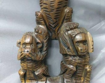 Vintage Hand Carved Hear See Speak No Evil Monkey Monkeys Wood Carving Statue