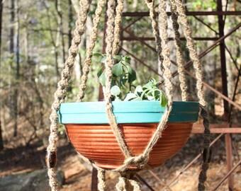 Jute Macrame Plant Hanger with Dark Brown Wooden Beads