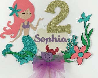 Mermaid Cake Topper, Under the Sea Theme, Mermaid Theme Party Decor, Glitter Cake Topper, Girls Birthday